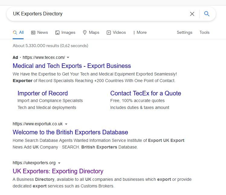 Successful Google search results